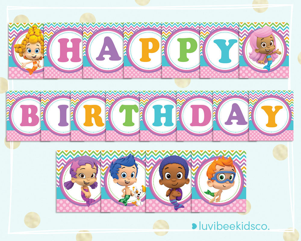photo about Birthday Banner Printable named Bubble Guppies Content Birthday Banner - Printable PDF Banner for Women - Multicolored