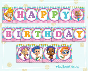 Bubble Guppies Happy Birthday Banner Printable Pdf Banner For