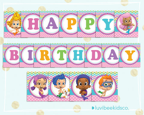 Bubble Guppies Happy Birthday Banner - Printable PDF Banner for Girls - Multicolored - LuvibeeKidsCo