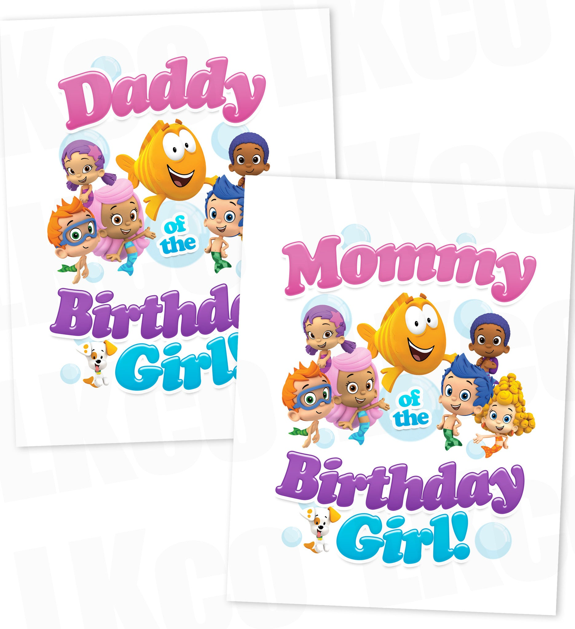 Bubble Guppies Iron On Transfer | Mommy & Daddy of the Birthday Girl Set - Style 2 - LuvibeeKidsCo