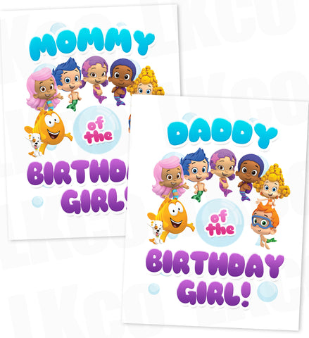 Bubble Guppies Iron On Transfer | Mommy & Daddy of the Birthday Girl Set - LuvibeeKidsCo