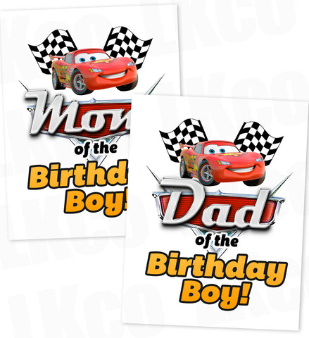 Disney Cars Iron On Transfer | Lightning McQueen | Mom & Dad of the Birthday Boy Set
