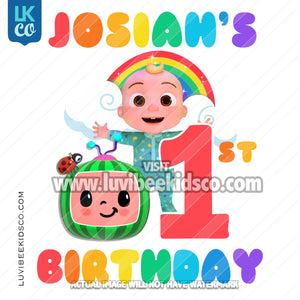 Cocomelon Inspired Heat Transfer Design - Birthday for Boy or Girl