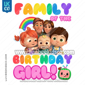 Cocomelon Inspired Heat Transfer Designs - Add Family Members - Birthday Girl
