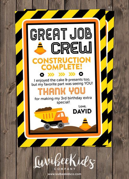 Construction Birthday Invitation & Personalized Thank You Card Set - LuvibeeKidsCo
