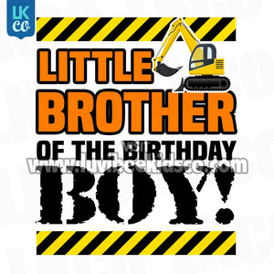 Construction Little Brother Birthday Shirt Transfers - LuvibeeKidsCo