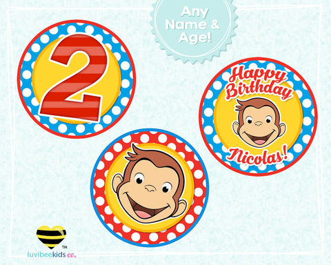 Curious George Birthday Cupcake Toppers - LuvibeeKidsCo
