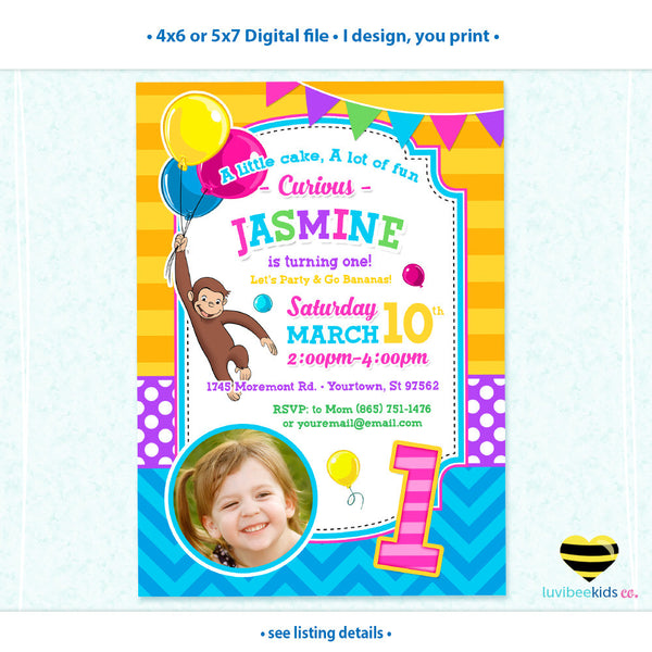 Curious George Invitation with Photo for Girls - Design 007 - LuvibeeKidsCo