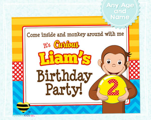 Curious George Birthday Party Welcome Sign - Style #01 - LuvibeeKidsCo