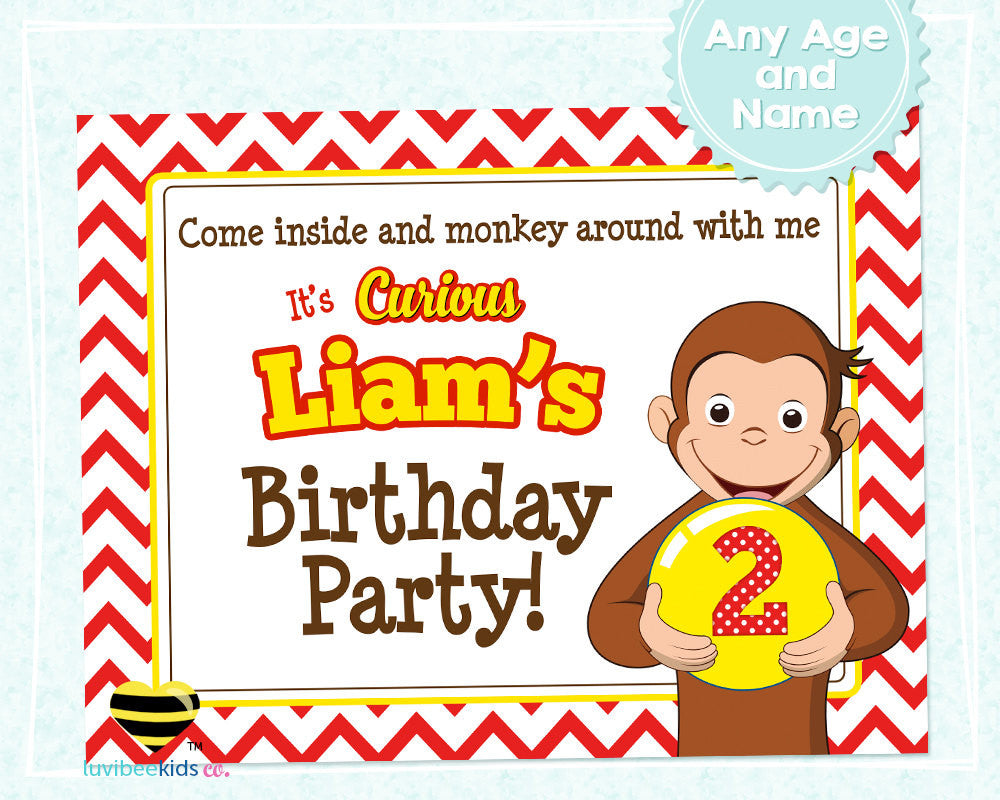 Curious George Birthday Party Welcome Sign - Style #02 - LuvibeeKidsCo