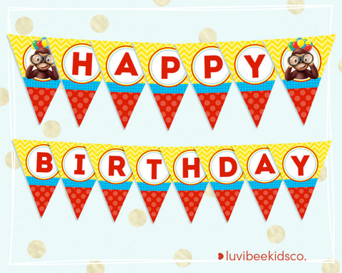 Curious George Happy Birthday Banner - Printable Banner - LuvibeeKidsCo