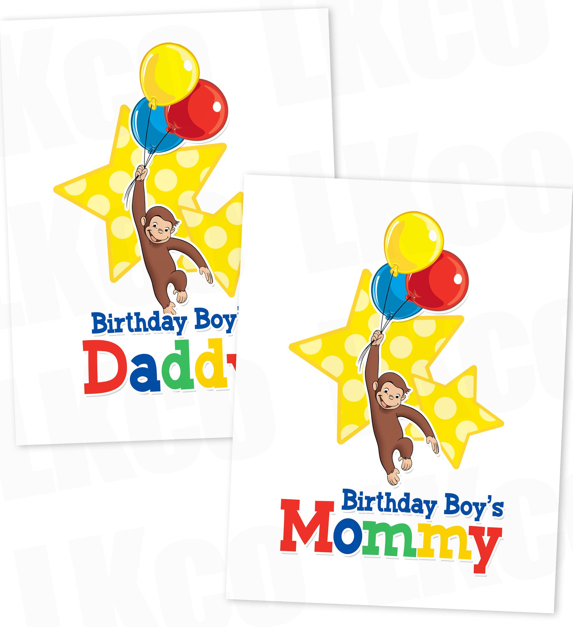 Curious George Iron On Transfer | Mommy & Daddy Set | Primary Colors - LuvibeeKidsCo