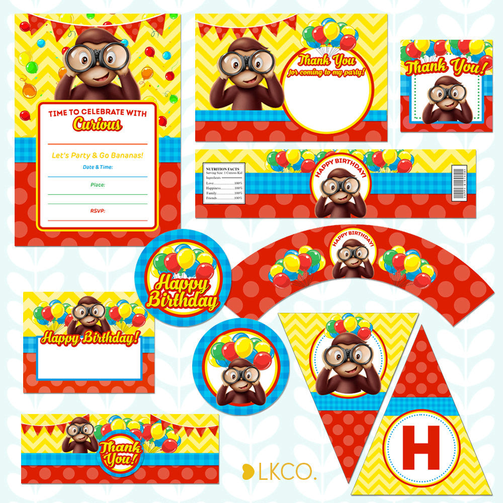 Curious George Birthday Invitation Printable Party Pack