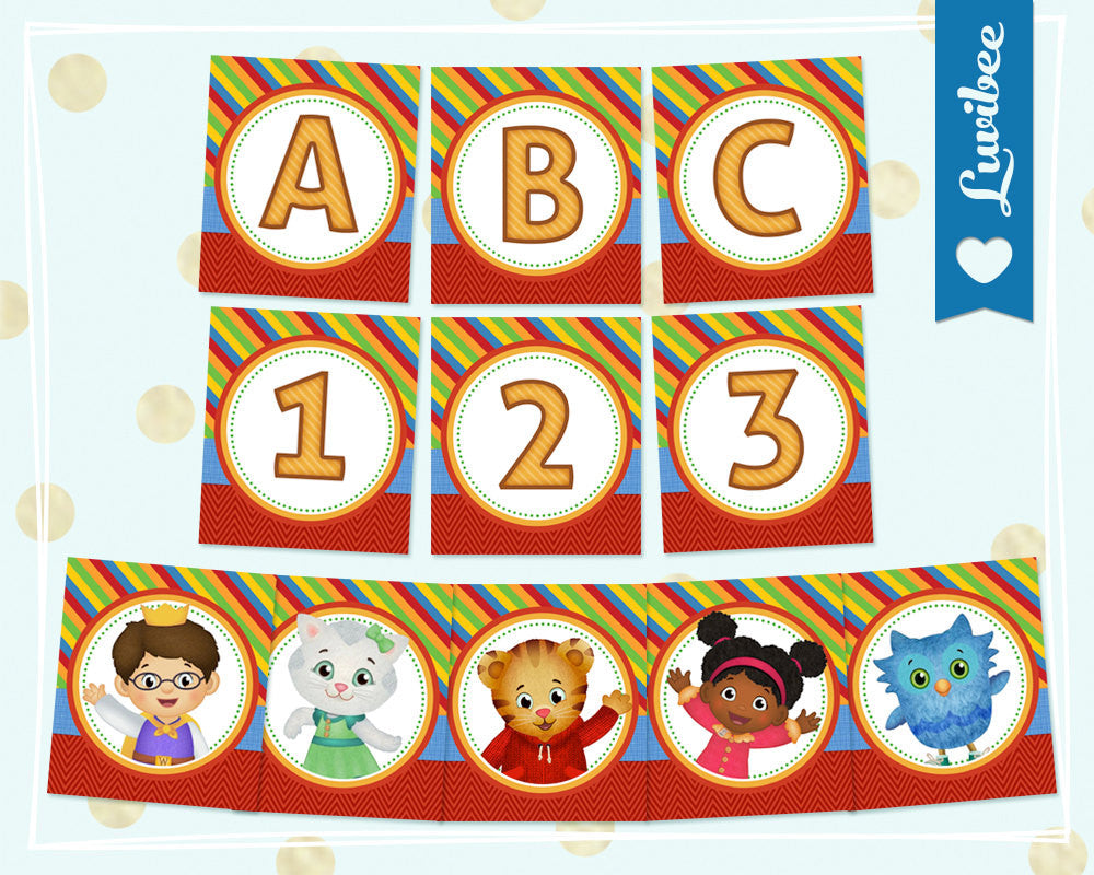 Daniel Tiger Happy Birthday Alphabet Banner - Full Alphabet & Numbers Party Banner - Chevrons & Stripes - LuvibeeKidsCo