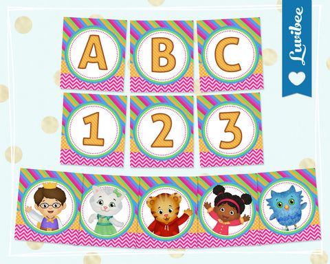 Daniel Tiger Happy Birthday Alphabet Banner - Full Alphabet & Numbers Party Banner - Pink Chevrons & Stripes - LuvibeeKidsCo