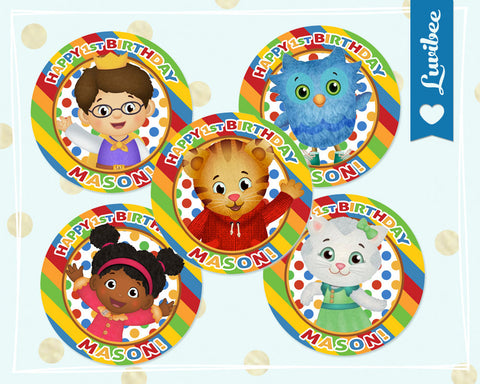 Daniel Tiger Cupcake Toppers - Stripes - Primary Colors - LuvibeeKidsCo