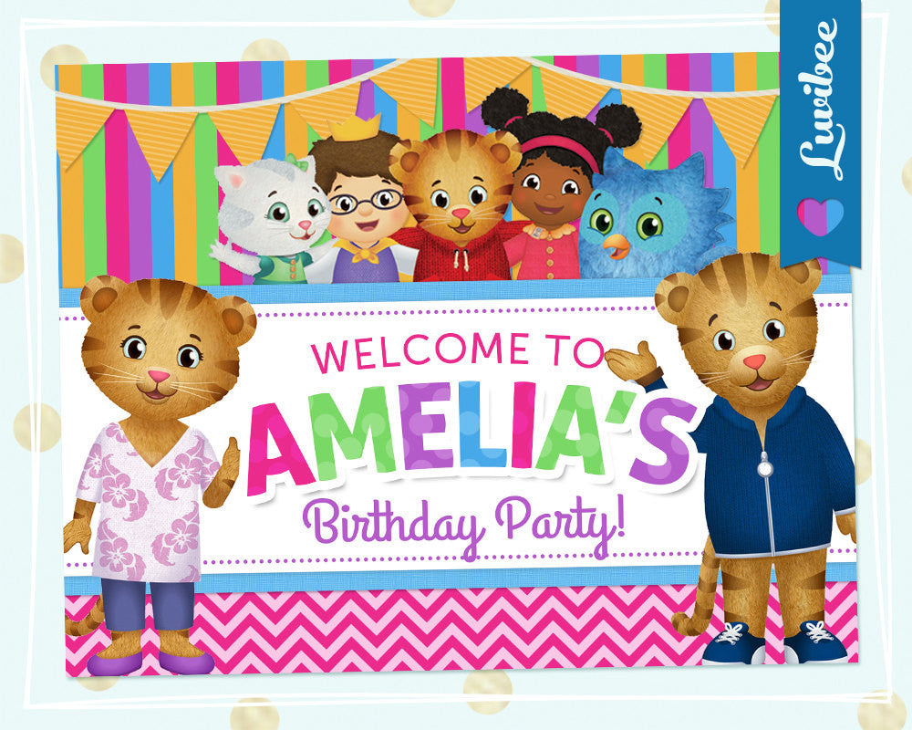 Daniel Tiger Birthday Party Door Sign | Pink & Colorful Stripes - LuvibeeKidsCo