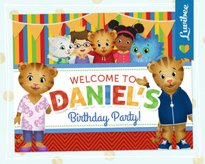 Daniel Tiger Birthday Party Door Sign | Stripes & Chevrons - LuvibeeKidsCo