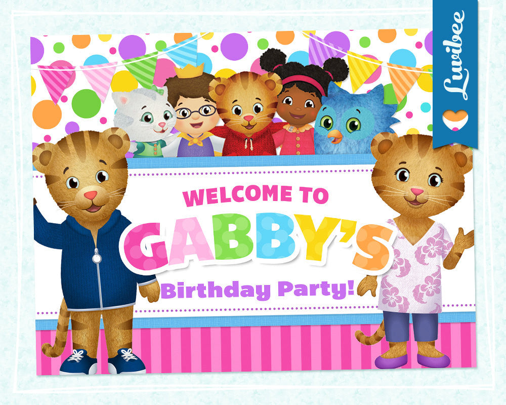 Daniel Tiger Birthday Party Door Sign | Pink & Colorful Dots - LuvibeeKidsCo