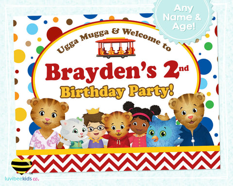 Daniel Tiger Birthday Party Door Sign | Red Dots & Chevrons - LuvibeeKidsCo
