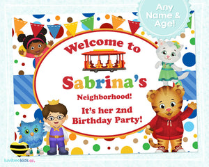 Daniel Tiger Birthday Party Door Sign | Polka Dots - Digital File Only (You Print) - LuvibeeKidsCo