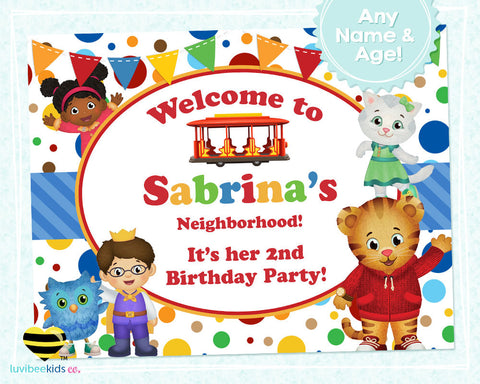Daniel Tiger Birthday Party Door Sign | Polka Dots - LuvibeeKidsCo