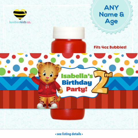 Daniel Tiger Birthday Party Bubble Labels | Dots & Stripes - LuvibeeKidsCo