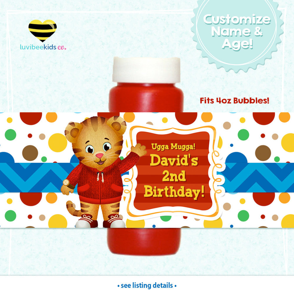 Daniel Tiger Personalized Bubble Labels | Dots - LuvibeeKidsCo