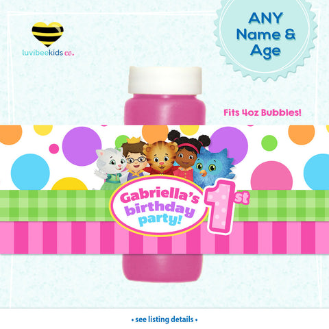 Daniel Tiger Birthday Party Bubble Labels | Pink - LuvibeeKidsCo