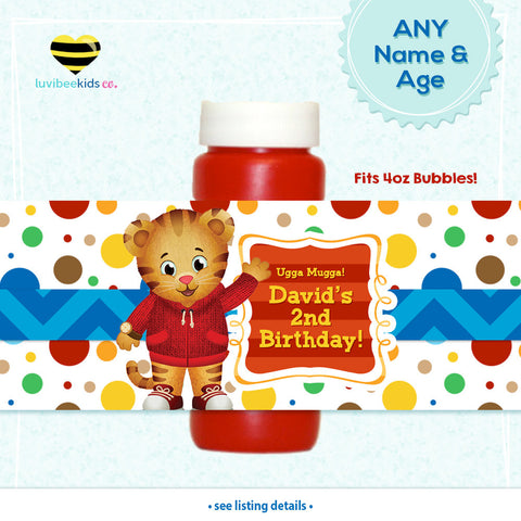 Daniel Tiger Birthday Party Bubble Labels | Dots - LuvibeeKidsCo