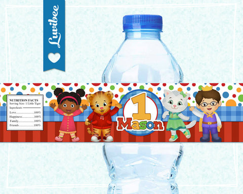 Daniel Tiger Birthday Party Drink Labels | Red Dots & Stripes - LuvibeeKidsCo