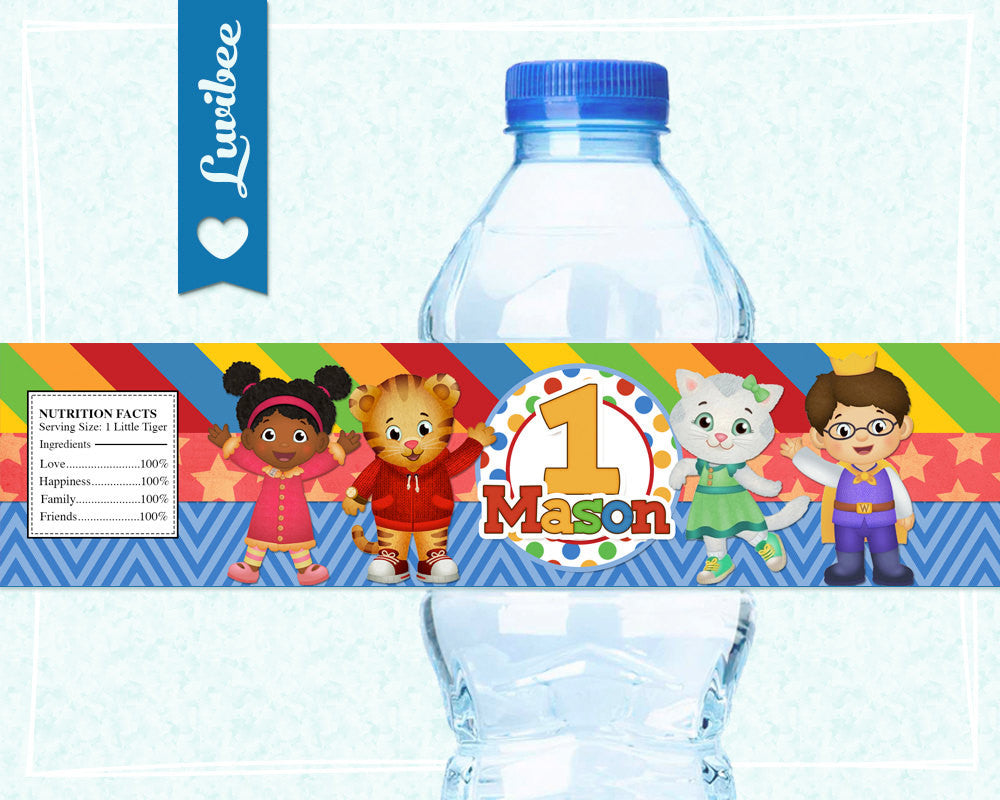 Daniel Tiger Birthday Party Drink Labels | Red Stripes & Chevrons - LuvibeeKidsCo