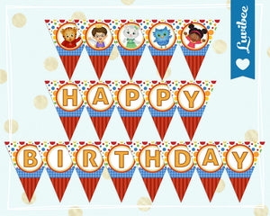 Daniel Tiger Happy Birthday Banner - Dots & Stripes - LuvibeeKidsCo