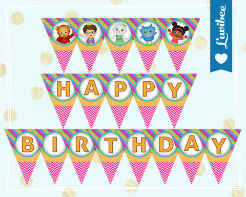 Daniel Tiger Happy Birthday Banner - Pink Chevrons & Stripes | Instant Download - LuvibeeKidsCo