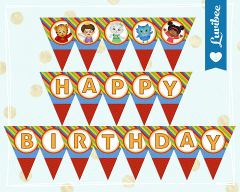 Daniel Tiger Happy Birthday Banner - Stripes & Chevrons - LuvibeeKidsCo