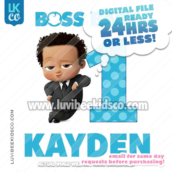 Boss Baby Iron On Transfer | African American Boy with Age - LuvibeeKidsCo