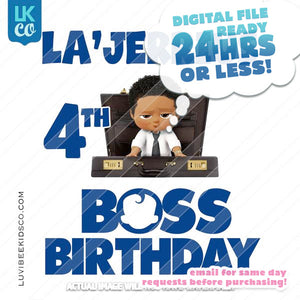 Boss Baby Iron On Transfer | African American Boy | Briefcase | Boss Birthday - LuvibeeKidsCo