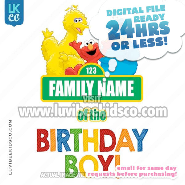 Sesame Street Birthday Iron On Transfer - Add A Family Member - Birthday Boy 02 - LuvibeeKidsCo