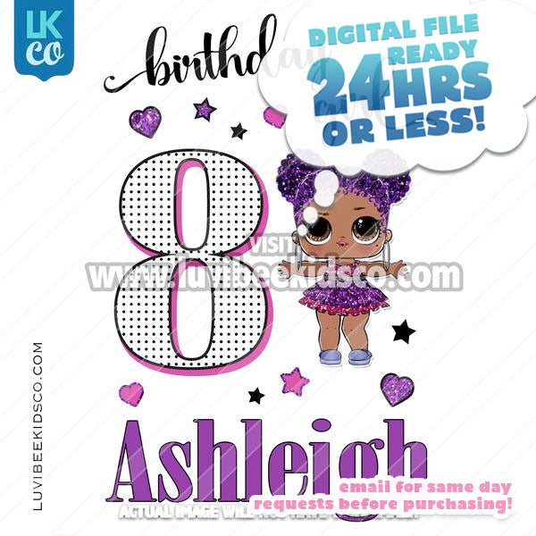 LOL Surprise Iron On Transfer Design | Birthday Girl - Purple Queen - LuvibeeKidsCo