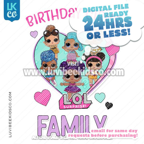 LOL Surprise Dolls Iron On Transfer Design - Add Family Members - Purple - Afro Dolls - LuvibeeKidsCo