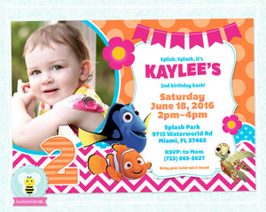 Finding Dory Birthday Invitation with Photo - Finding Dory Party Printables - Pink & Orange - LuvibeeKidsCo