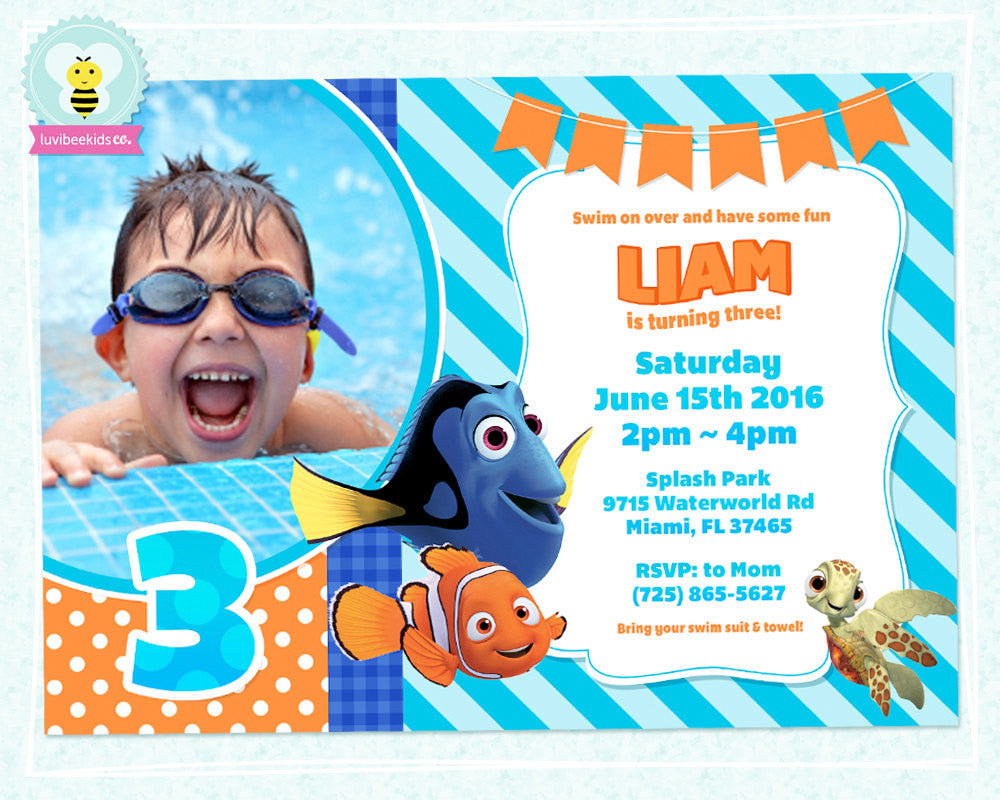 Finding Nemo Birthday Invitation with Photo - Finding Nemo Party Printables - Blue & Orange - LuvibeeKidsCo