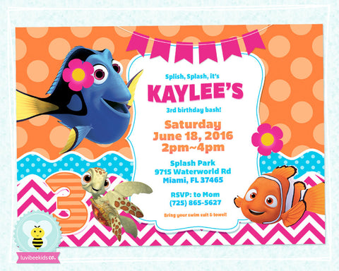 Finding Dory Birthday Invitation - Finding Dory Party Printables - Pink & Orange - LuvibeeKidsCo