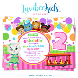 Daniel Tiger Invitation for Girls - Colorful Pink & Purple Dots - Style #016 - LuvibeeKidsCo