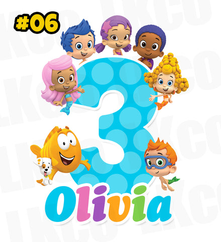 Bubble Guppies Birthday Shirt Iron On Transfer | Blue Dots - LuvibeeKidsCo