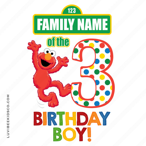 Sesame Street Iron On Birthday Shirt Design | Elmo Birthday Boy or Girl | Add Family Members