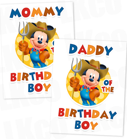 Farmer Mickey | Mickey Mouse Iron On Transfers | Mommy & Daddy Set - LuvibeeKidsCo