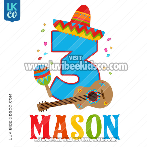 Fiesta Birthday Heat Transfer Design - Sombrero and Guitar - Any Name and Age
