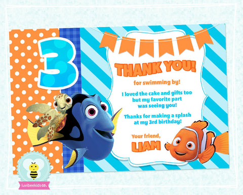 Finding Nemo Birthday Thank You Card - Finding Nemo Party Printables - Blue & Orange - LuvibeeKidsCo