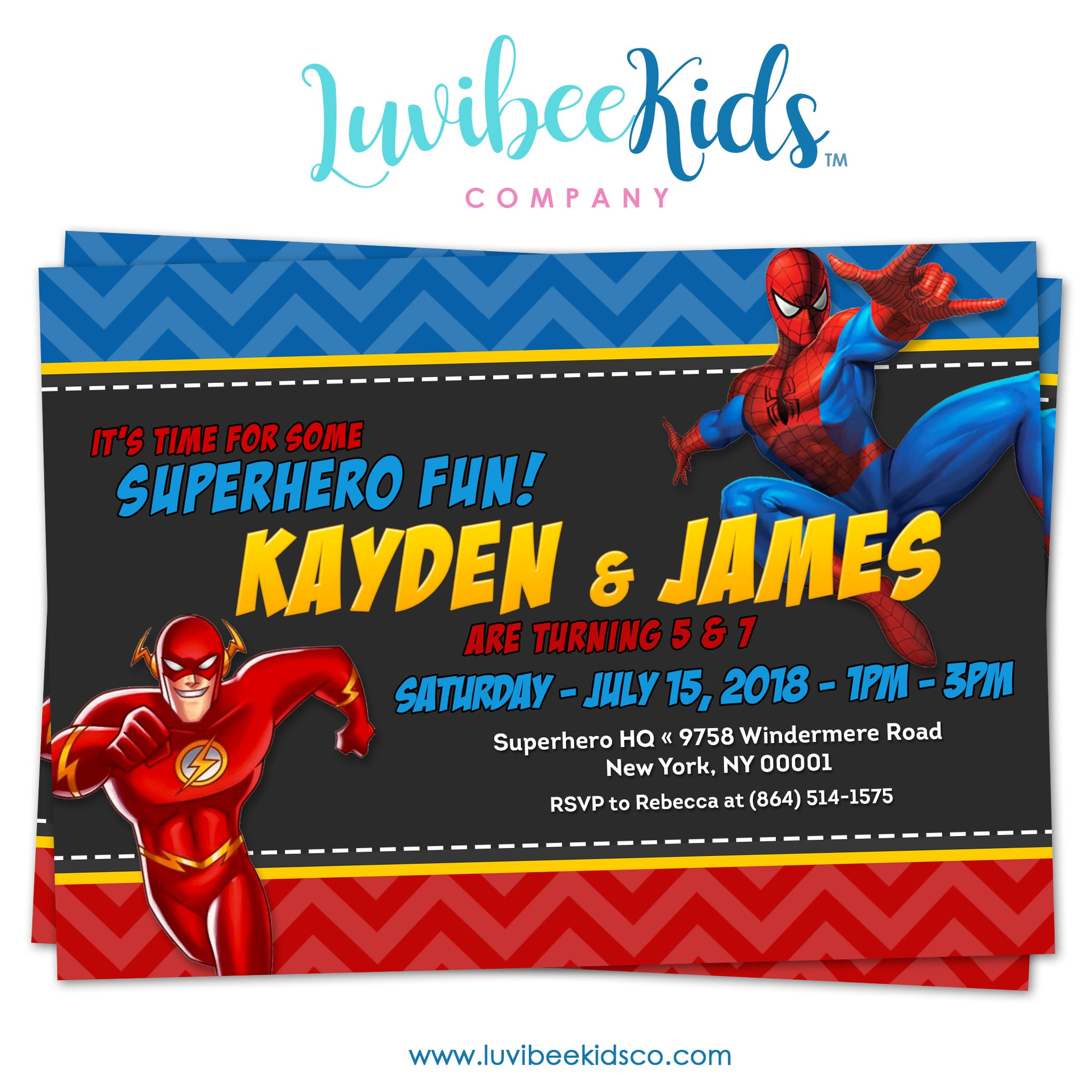 Combined Superhero Birthday Invitation - The Flash & Spiderman - LuvibeeKidsCo